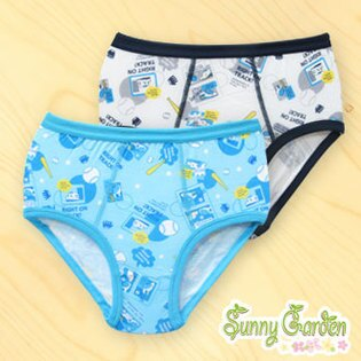 三麗鷗SHINKANSEN男童天然木纖內褲-米色/翠藍色三角褲一入‧滿版棒球系列