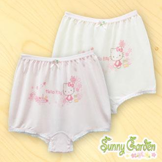 三麗鷗Hello Kitty女童內褲-天然木纖黃色/粉色-平口褲一入‧花園系列