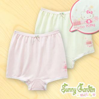 三麗鷗Hello Kitty女童木纖內褲-黃色/粉色-平口褲一入‧側邊設計系列