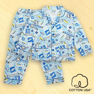三麗鷗SHINKANSEN兒童童裝美國純棉藍色長袖翻領睡衣‧標誌告示系列