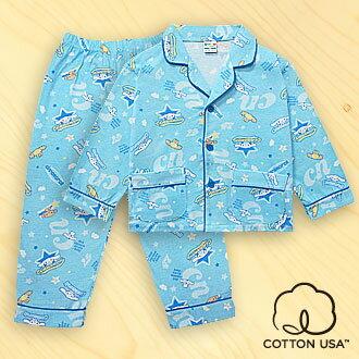 三麗鷗CINNAMOROLL兒童童裝美國純棉藍色長袖翻領睡衣‧滿版星星系列