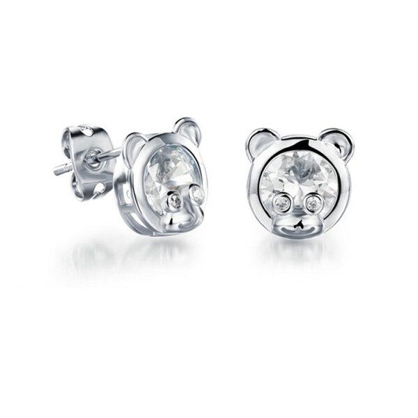 最新款韓風超萌可愛小熊水鑽造型鍍白金鍍18K金耳環耳飾