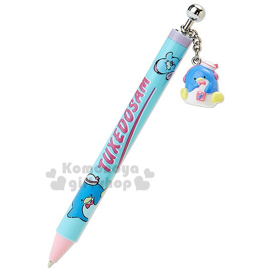 〔小禮堂〕山姆企鵝 日製自動原子筆~藍粉.站姿舉單腳.附 吊飾~黑色筆芯