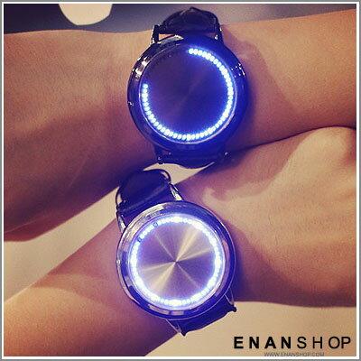 惡南宅急店【0495F】韓風觸控LED閃光手錶 多款任選 生命樹 藍星空 簡約幾何素面 男錶女錶對錶可