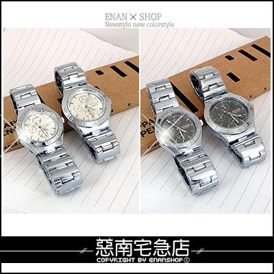 惡南宅急店【0025F】機械精工奢華手錶『仿三眼 時尚品味錶』中性可當情侶對錶。單支價
