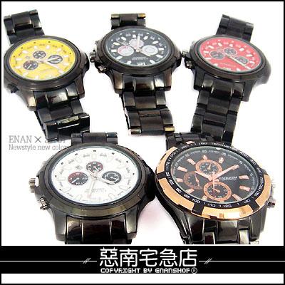 惡南宅急店【0208F】首爾漫遊?男錶女錶中性『多色仿三眼』情侶對錶可?單支價