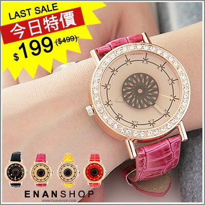 惡南宅急店【0369F】韓系 現貨不用等『萬花筒 秒針美學』鱷魚皮帶手錶 (3款)