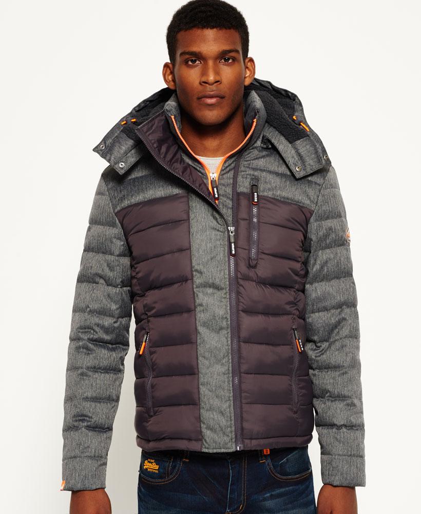 英國代購 極度乾燥 superdry Fuji MIX 男士保暖 拼接內鋪絨休閒雪地加厚夾克外套 灰色 1