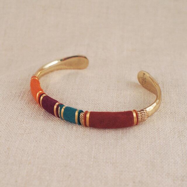 【現貨商品】【GAS Bijoux】Massai 麂皮手編拋光黃銅手環(GAB006Grn-097  0887730000) 3