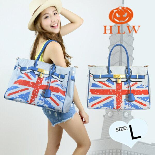 【HLW NY Print Bag 轉印包】設計柏金系列 L型 英國國旗包 側(肩)背包 HLW轉印包 綵情時尚精品