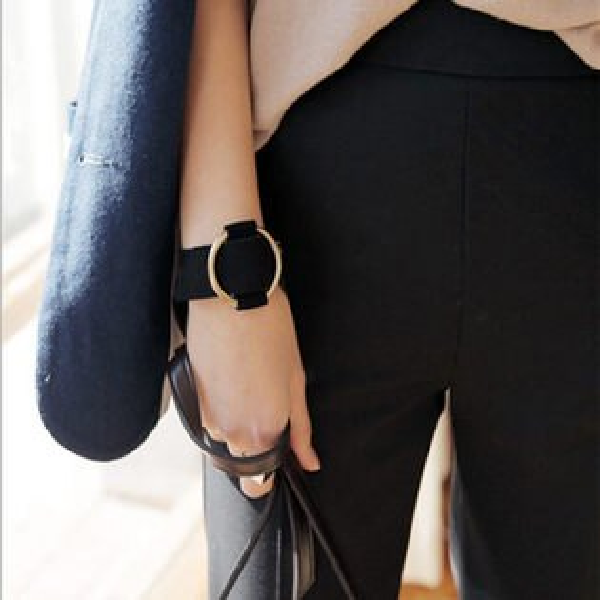 PS Mall 韓版飾品 幹練帥氣四季絨面皮革麂皮皮帶搭扣寬手鏈手鐲手環【G2014】