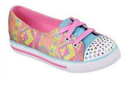 [陽光樂活] (出清US1=20cm)SKECHERS 女童系列 CHIT CHAT 10470LCRMT 記憶型鞋墊 LED燈