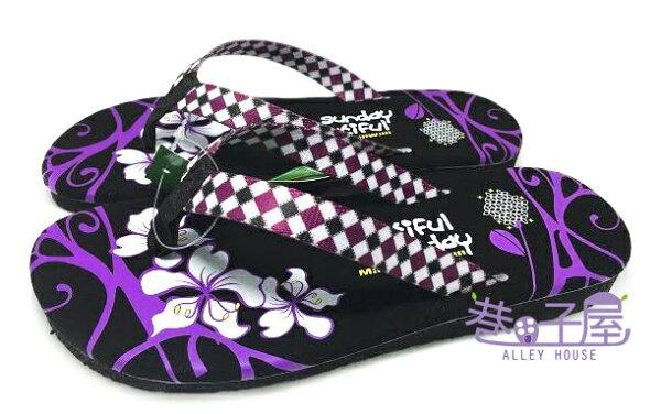 【巷子屋】菱格花圖造型夾腳拖 人字拖 [96053] 黑紫 MIT台灣製造 超值價$100
