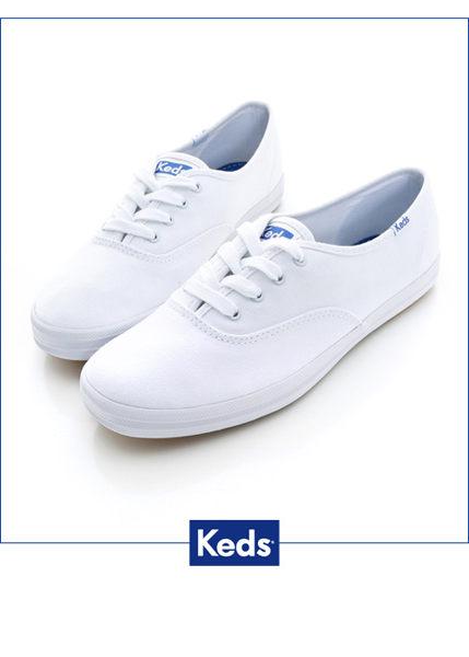 Keds 經典長青帆布鞋(寬楦)-白 白鞋││綁帶│平底鞋 0