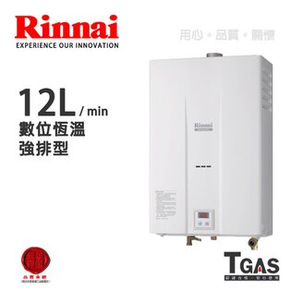 Rinnai林內 12L 數位控溫強制排氣熱水器【RU-B1251FE】含基本安裝