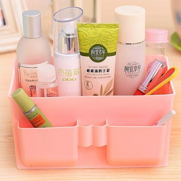 PS Mall 炫彩多格化妝品收納盒 辦公桌面雜物整理收納桌面儲物盒 塑膠整理盒 【J1634】