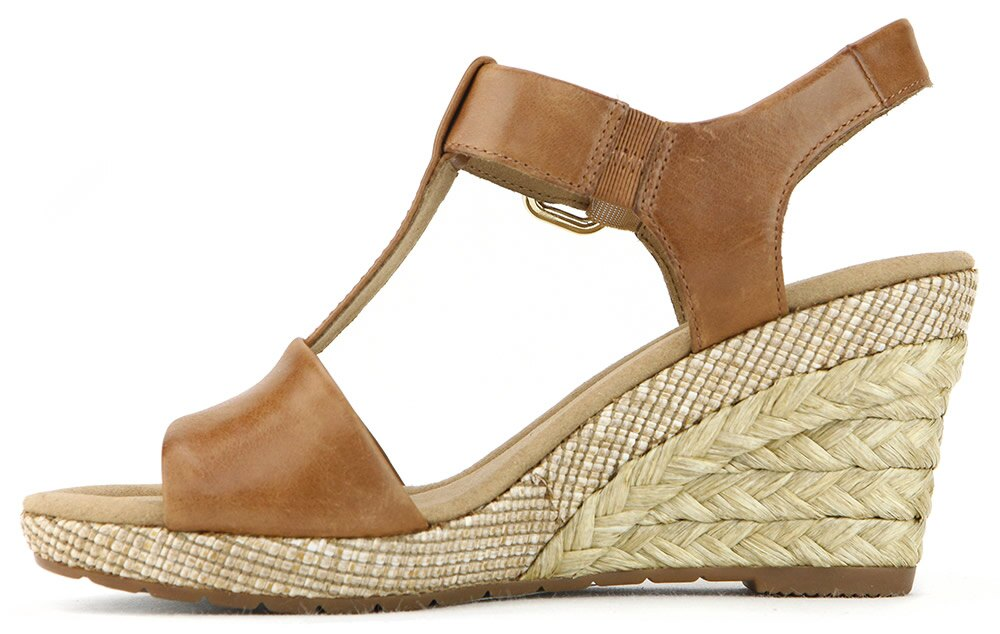 Gabor 修身輕躍 時尚金屬扣飾楔型涼鞋 濃咖啡 1