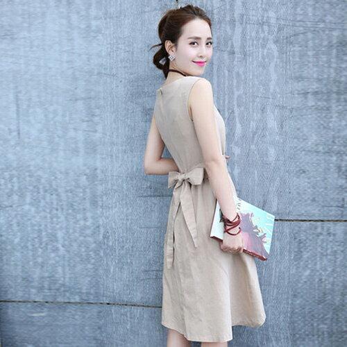短洋裝 - 韓版小清新修身綁帶棉麻連衣裙【29125】藍色巴黎《3色》現貨 2