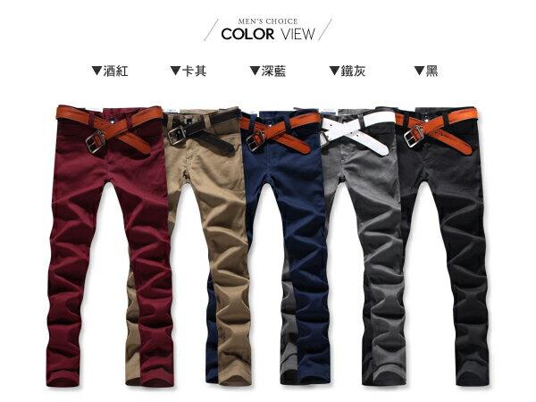 ☆BOY-2☆【NM9125】工作褲簡約型男素面質感修身休閒拼接皮標窄管長褲 1