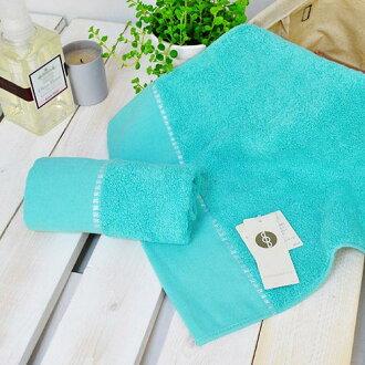【UCHINO】BB系列 純色繡邊方巾 藍綠色