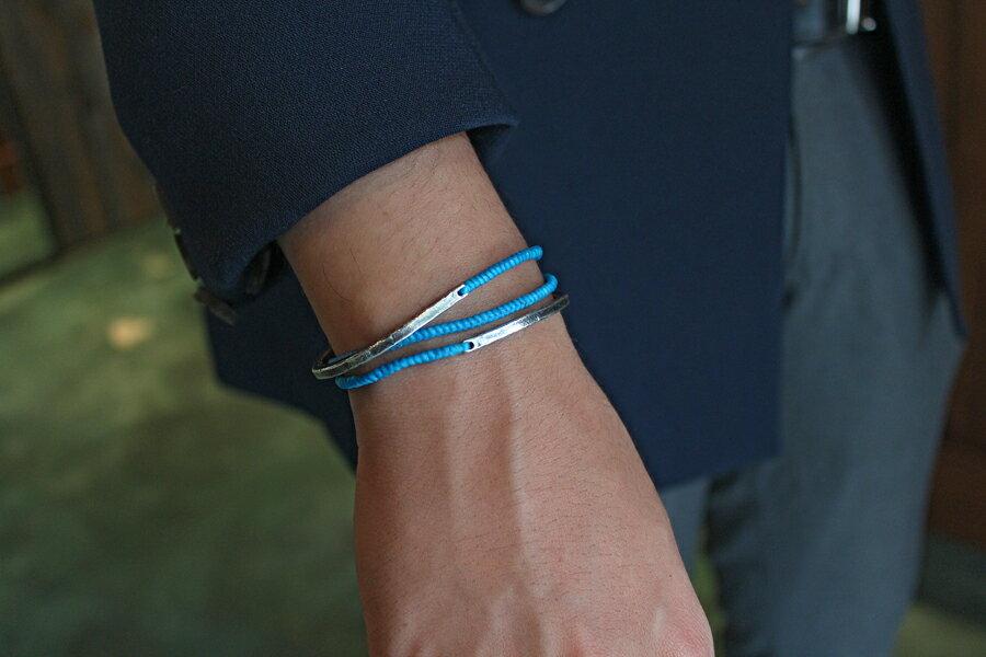 【現貨商品】【M.Cohen】3圈式蠟繩銀牌手環-藍 (MC-B-102300-SLV 07762800B5) 2