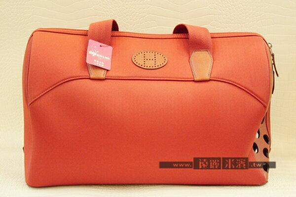 hermes橘色帆布寵物手提包