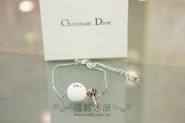 A6678 Dior 白 高爾夫球 含 地針 銀色 手鍊 (小)