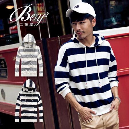 ☆BOY-2☆【NQ96010】休閒連帽抽繩條紋長袖T恤 0