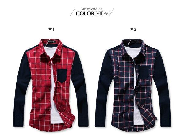 ☆BOY-2☆ 【NQ97011】長袖襯衫大格紋撞色口袋 2