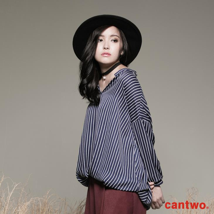 cantwo條紋小立領弧襬襯衫(共二色) 2