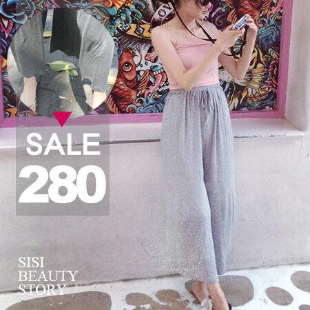 SISI【P6014】休閒時尚渡假風舒適寬鬆抽繩鬆緊腰七分寬管褲