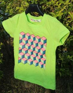 衣加2童衣舖  螢光綠幾何圖形上衣