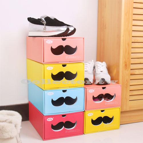 ~G15031701~糖果色紙作環保鞋子收納盒 DIY鞋盒 多 收納盒 翹鬍子收納箱 ~