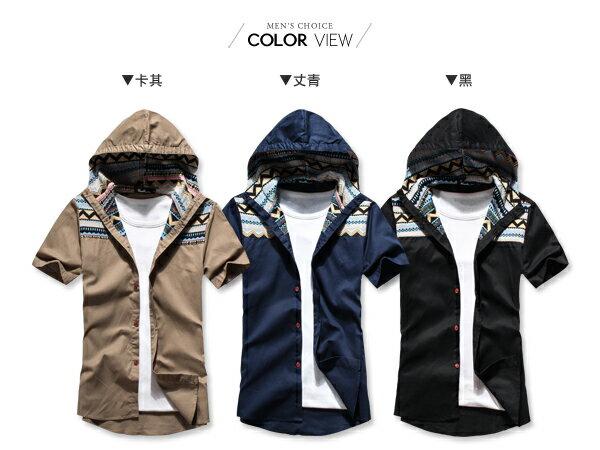 ☆BOY-2☆ 【PPK83023】短袖襯衫連帽潮流拼接民俗風休閒襯衫 2