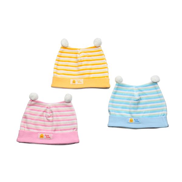 『121婦嬰用品館』黃色小鴨 橫條雙角嬰兒帽 0