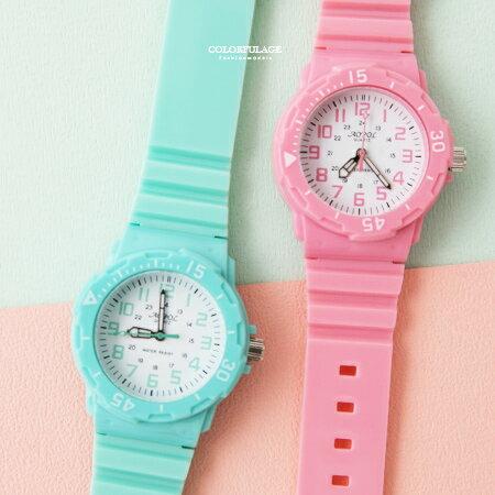 手錶 輕巧繽紛多色休閒運動小圓框矽膠錶 外框可旋轉 兒童錶女錶 柒彩年代【NE1872】單支售價 0