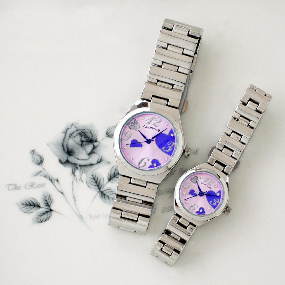 Daniel Wang 3145 浪漫愛心亮鑽刻度銀色鐵帶對錶 3