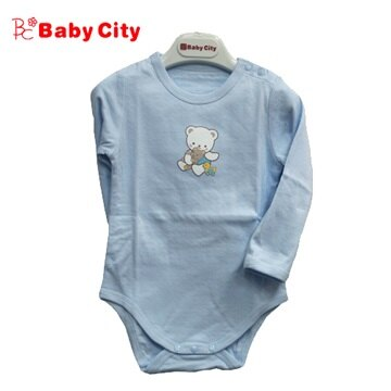 台灣【Baby City】快乾棉長肩開上衣(藍) 0