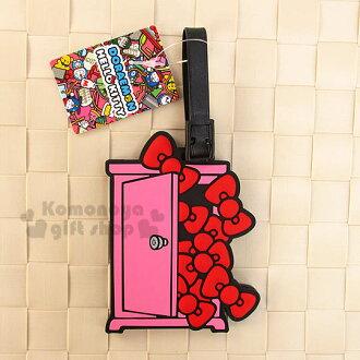 〔小禮堂〕KittyX哆啦A夢 造型橡膠行李箱姓名吊牌《粉.任意門.蝴蝶結》