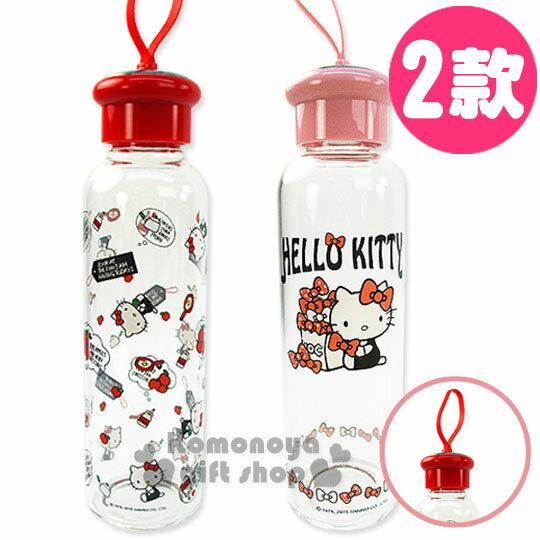 〔小禮堂〕Hello Kitty 耐熱隨身玻璃瓶《二款選一.粉/紅.500ml》附布套