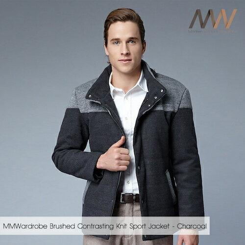 《摩搭衣櫥 MMWardrobe》呢絨拼接針織SMART外套-炭灰