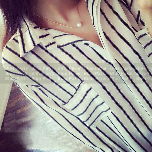 長袖上衣 - 條紋下擺圓弧剪裁大口袋長版襯衫【29132】藍色巴黎《2色》現貨+預購 2
