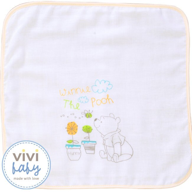 ViViBaby - Disney迪士尼小熊維尼雙面手帕 (毛巾+紗布) 1