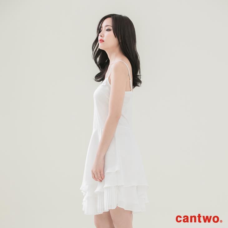 cantwo壓摺荷葉內襯洋裝(共二色) 2