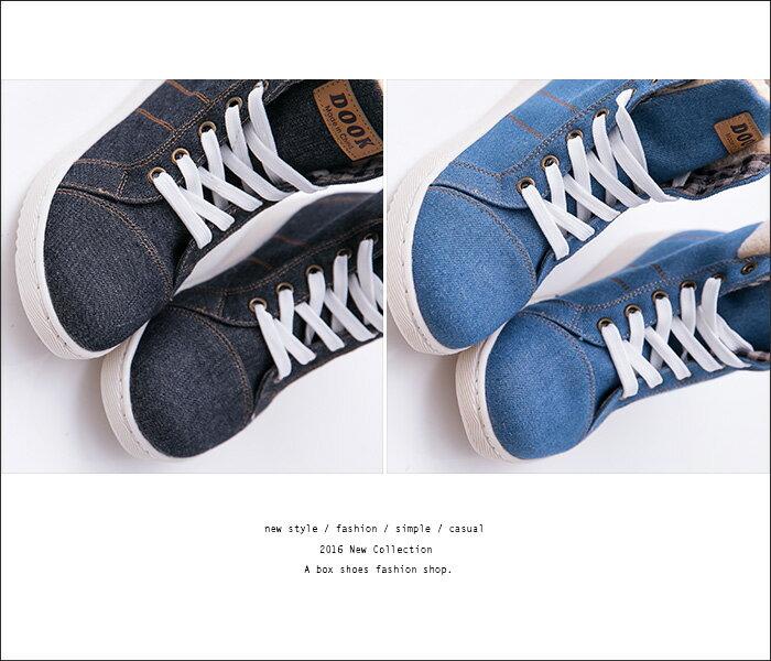 格子舖*【AA5331】韓國街頭時尚 流行絨布拼接牛仔帆布 繫帶短筒休閒靴 短靴 帆布鞋 3色 2