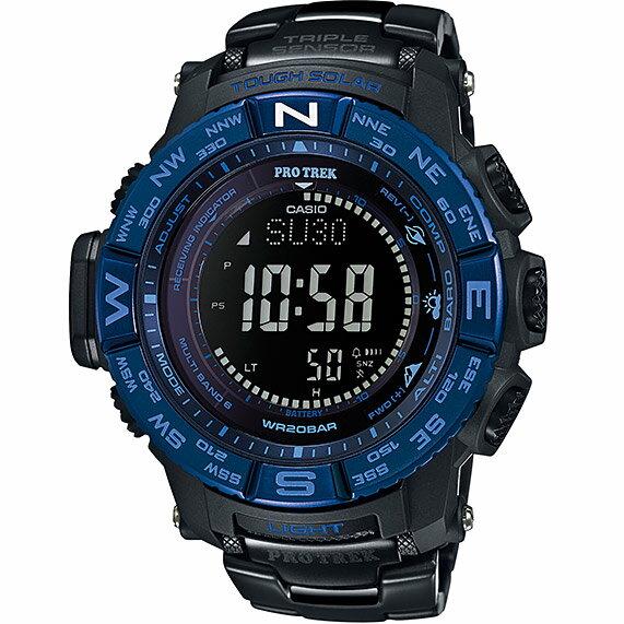 CASIO PRO TREK 登山錶 PRW-3500SYT-1三大感應器電波專業登山腕錶/黑藍53.4mm