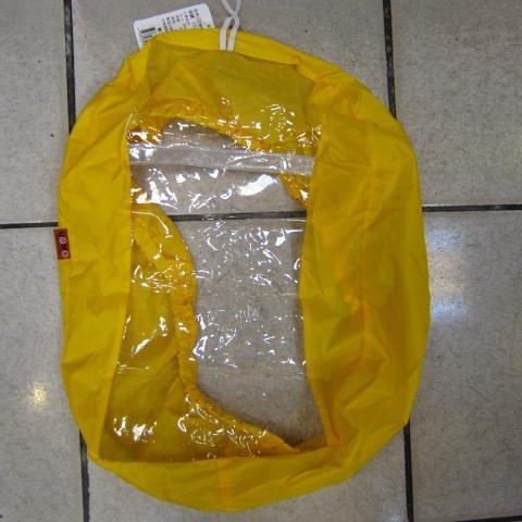 ~雪黛屋~UNME雨衣罩 後背包雨衣罩40L雨衣罩輕巧好收納不占空間可掛於包包輕便攜帶防水尼龍+透明PVC#1528