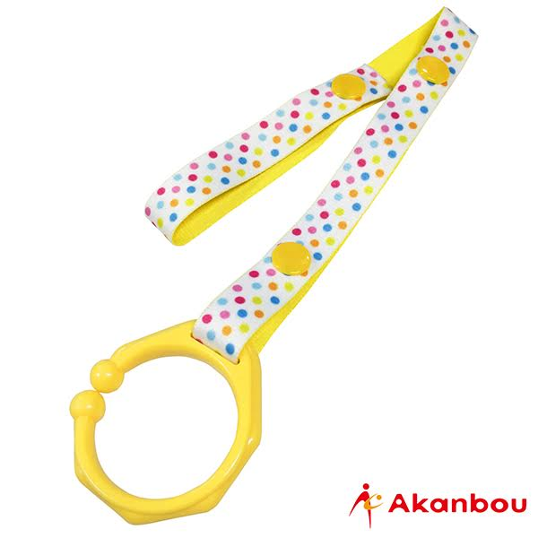日本【Akanbou】C型扣環玩具吊帶-藍/黃 0