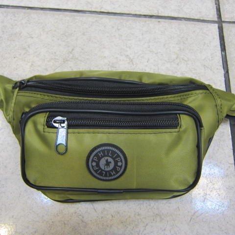 ~雪黛屋~PHILIP 腰包 隨身物品包 運動休閒隨身包 防水尼龍布材質 防竊盜必備款輕便型 綠