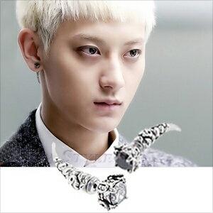 ☆ New Style ☆ 韓國進口 EXO TAO 黃子韜 西德鋼 同款狼牙鑲鑽穿刺耳環 (單支價)